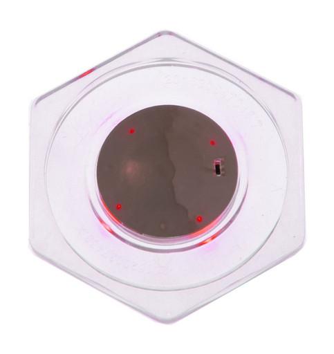 Шайба для аэрохоккея LED «Atomic Top Shelf» (прозрачная, шестигранная, красный светодиод) D74 mm