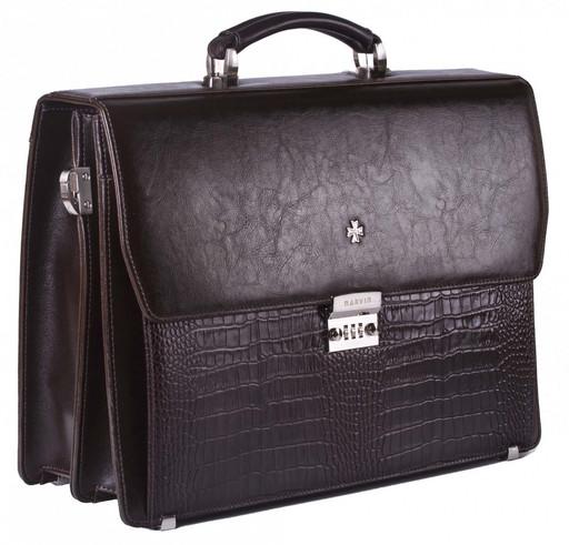 Портфель мужской кожаный NarVin  9737 D.Brown/Aligro Caffe