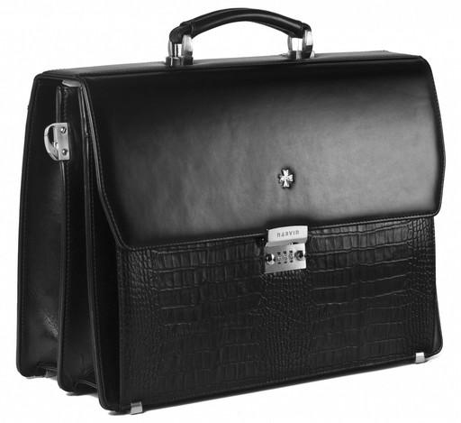 Мужской кожаный портфель NarVin 9737 N.Vegetta Black/Aligro