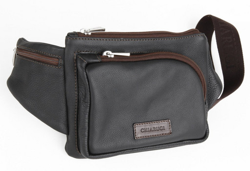 Кожаная поясная сумка Chiarugi 72650 NERO
