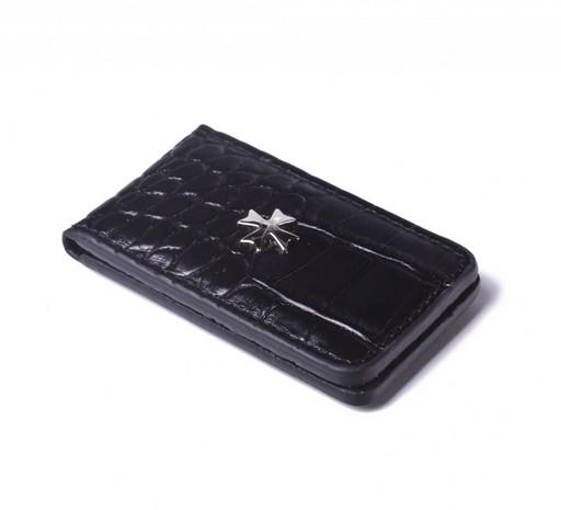 Зажим для денег кожаный NarVin 9112 N.Aligro Black