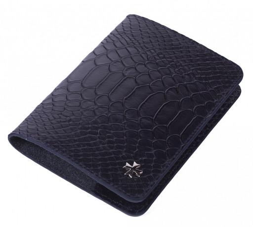 Обложка для паспорта кожаная NarVin 9148 Anaconda D.Blue