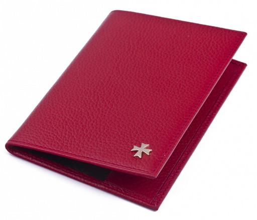 Обложка кожаная для паспорта NarVin 9155 N.Givenchi Red