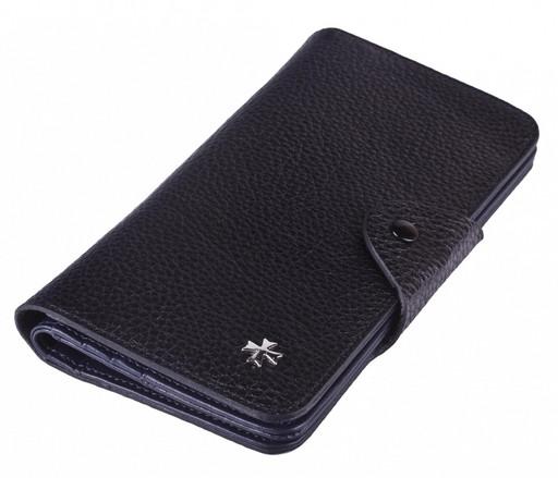 Бумажник мужской кожаный NarVin 9650 N.Polo Black / D.Blue