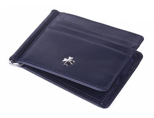 Портмоне с зажимом кожаное NarVin 9670 N.Vegetta D.Blue