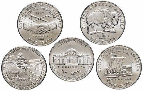 Набор 5 монет 5 центов США 2004-2006 «Путешествие на запад»