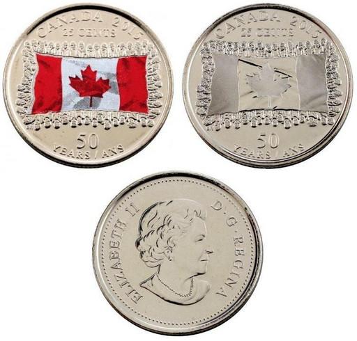 25 центов Канада 2015 «50-летие флага Канады»