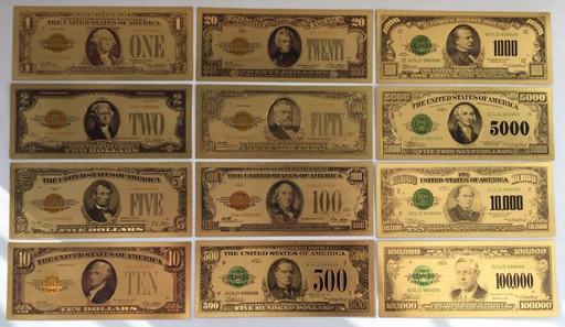 Набор 37 сувенирных банкнот доллары США