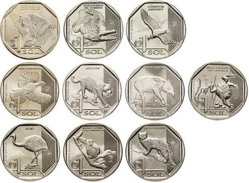 Набор 10 монет 1 новый соль 2017-2019 «Природа Перу»