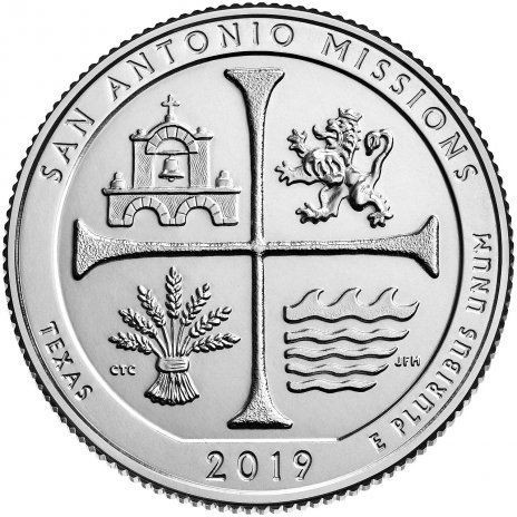 25 центов США 2019 49-й парк Техас