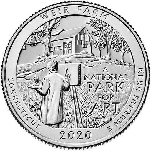 25 центов США 2020 52-й парк Коннектикут