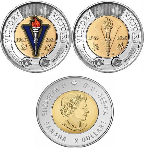 2 доллара Канада 2020 «75 лет окончания Второй Мировой войны»