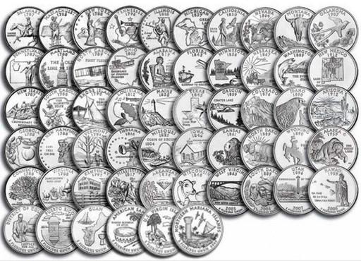 Набор 56 монет 25 центов США 1999-2009 «Штаты и территории»