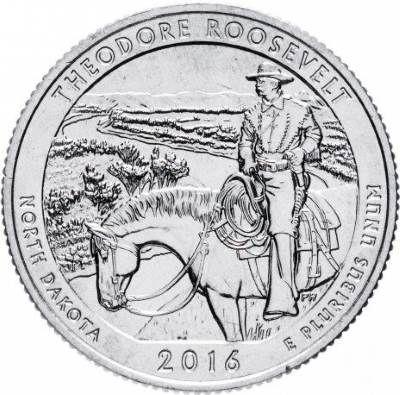 25 центов США 2016 34-й парк Северная Дакота