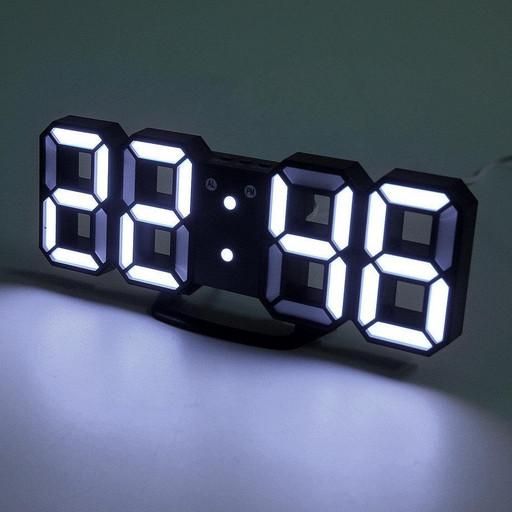 Часы электронные настольные настенные LED с будильником и термометром Caixing CX-2218 Black (белая подсветка)