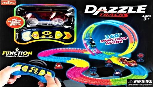 Детский игрушечный трек для машинок на пульте управления Dazzle Tracks 187 деталей | Конструктор трасса