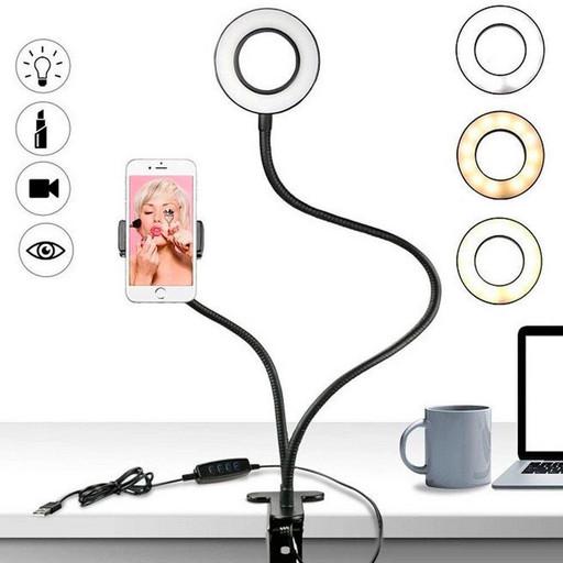 Держатель телефона с подсветкой Professional Live Stream на прищепке с подставкой, селфи