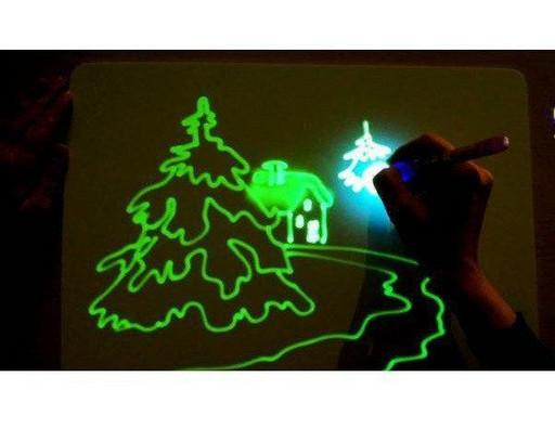 Планшет Доска для рисования светом   (33*45) +трафарет буквы,маркер PC-A3-17