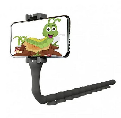 Гибкий держатель для телефона с присосками Cute Worm Lazy Holder, черный