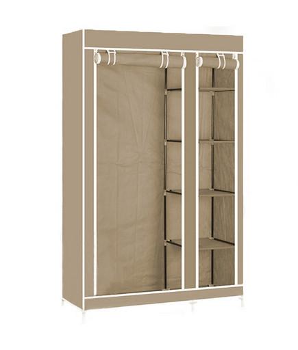 Портативный тканевый шкаф-органайзер для одежды на 2 секции - бежевый |