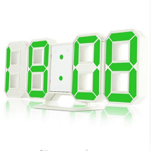 Часы электронные настольные настенные LED с зеленой подсветкой будильником и термометром Caixing CX-2218 White