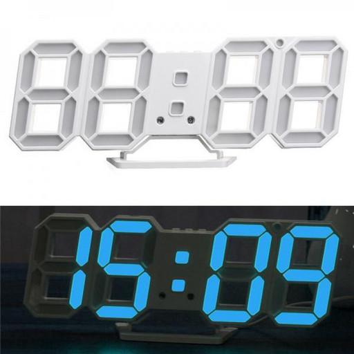 Часы электронные настольные настенные LED с будильником и термометром Caixing CX-2218 White (голубая