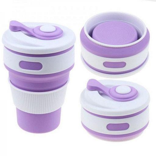 Складная силиконовая чашка Collapsible Coffe Cup 350 ml Фиолетовая