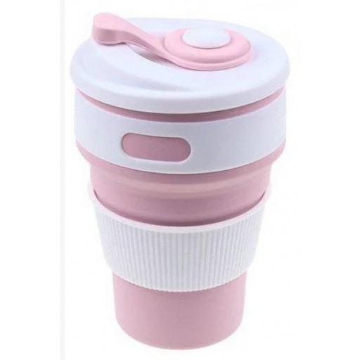 Складная силиконовая чашка Collapsible Eco Cup 350 ml, розовая. Кофейная складная кружка для кофе
