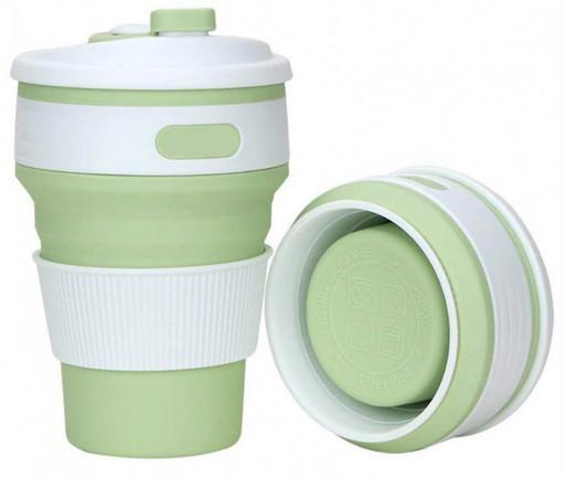 Складная силиконовая чашка Collapsible Coffe Cup 350 ml Зеленая
