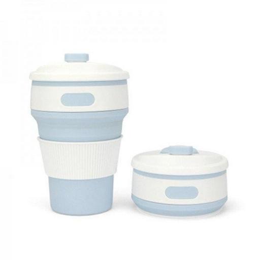 Складная силиконовая чашка Collapsible Coffe Cup 350 ml Голубая