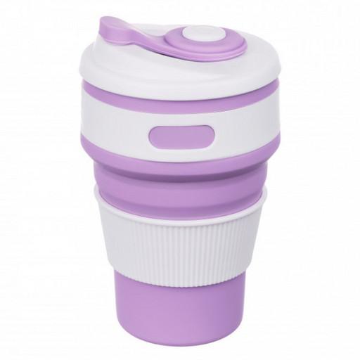 Складная силиконовая чашка Collapsible Eco Cup 350 ml, фиолетовая. Кофейная складная кружка для кофе
