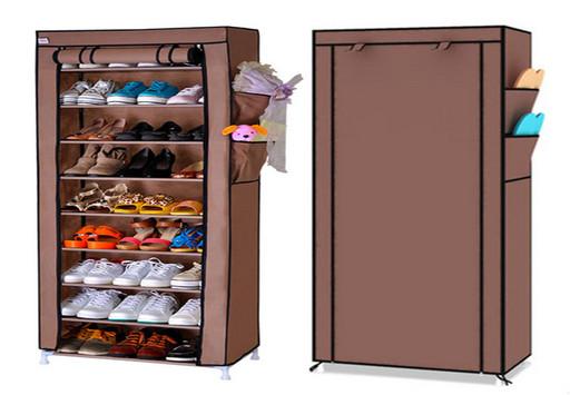 Стелаж для хранения обуви Shoe Cabinet коричневый, тканевый, 9 полок, размер 60х30х160см,