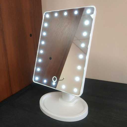 Зеркало для макияжа с LED подсветкой Large Mirror белое
