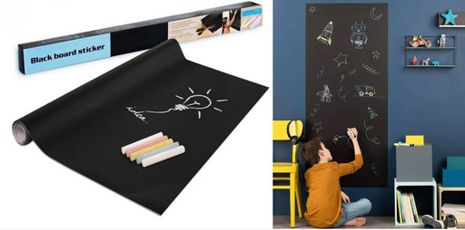 Самоклеящаяся пленка для рисования мелом LACK BOARD STICKER (черная 200*60 см)
