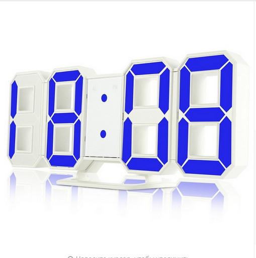 Часы электронные настольные настенные LED с синий подсветка будильником и термометром Caixing CX-2218 White