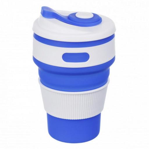 Складная силиконовая чашка Folding Cup EL-1056 350 ml Синий