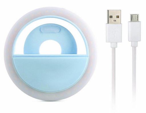 Селфи-кольцо для телефона с LED подсветкой Selfie Ring Light Blue