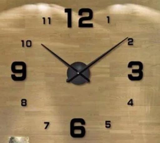 Большие бескаркасные настенные 3Д часы 3D DIY Clock часы 70-150см 002G (Арабские цифры Золото)