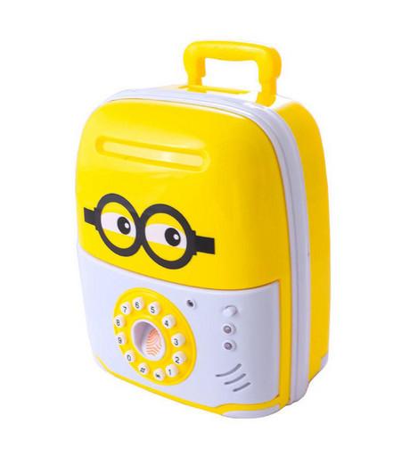 Сейф копилка чемоданчик детский Saving Box 6688-5D с кодовым замком Желтый с белым