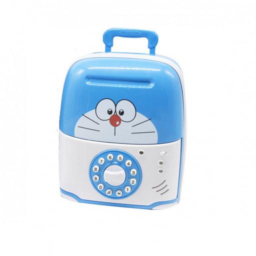Сейф копилка чемоданчик детский Saving Box 6688-5D с кодовым замком Кот Синий с белым