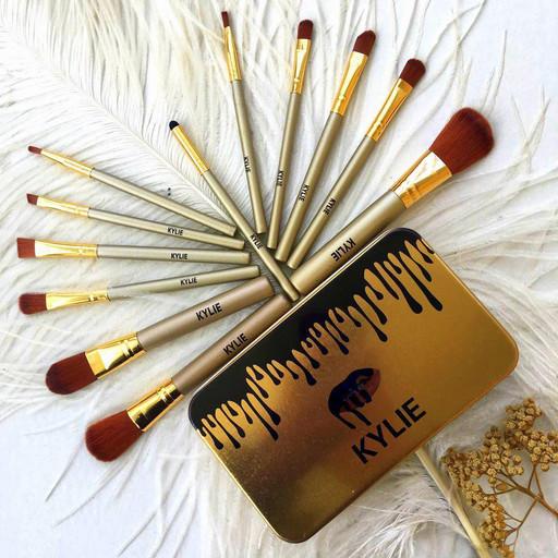 Профессиональный набор кистей для макияжа Kylie Jenner Make-up brush Gold set 12 шт.
