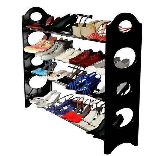 Полка органайзер для обуви на 12 пар черного цвета Stackable Shoe Rack