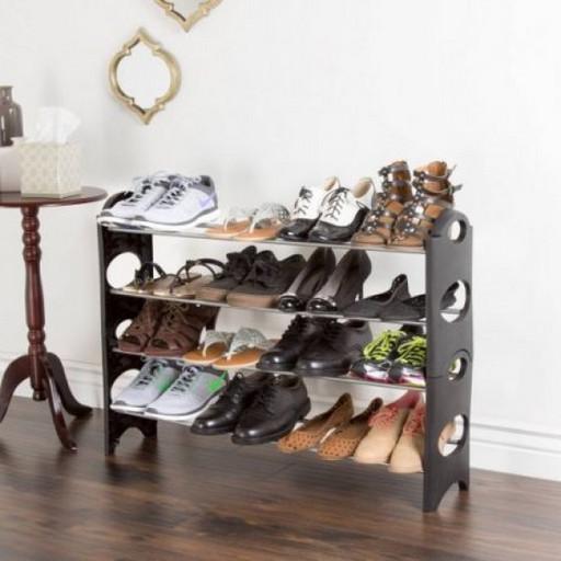 Полка для обуви органайзер Amazing Stackable Shoe Rack (4 полки на 12 пар)