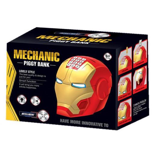 Копилка-сейф детская электронная с кодовым замком и купюро приемником Iron Man 'Шлем железного человека'