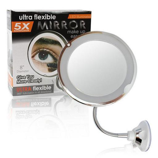 Гибкое зеркало на присоске с подсветкой с 5x увеличением Ultra Flexible Mirror 5X