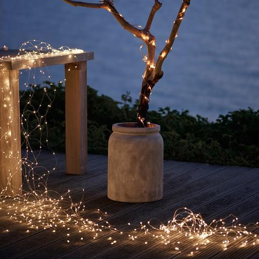 Гирлянда Конский хвост 160 LED: 8 линий по 1.1 м, 20 диодов/ нить, цвет - тёпло-белый, динамичный режим