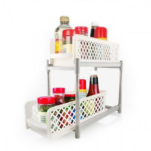 Органайзер для хранения для ванной или кухни Basket Drawers Portable на 2 съемные секции | подставка для кухни