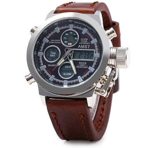 Армейские часы AMST 3003, кварцевые, коричневые, черные