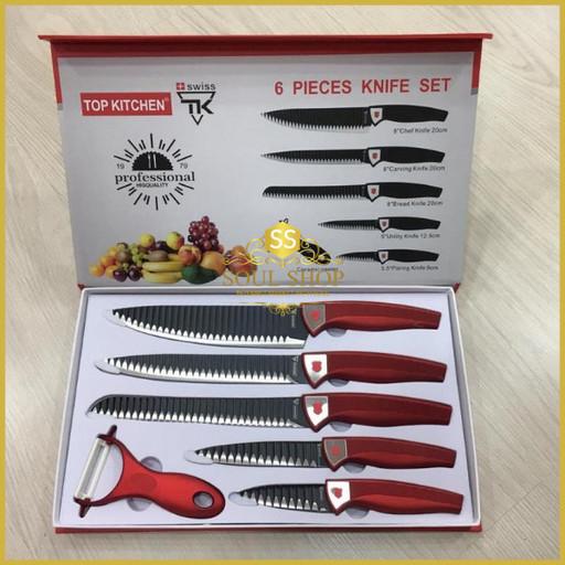 6 шт. Набор кухонных ножей Top Kitchen с овощечисткой из нержавеющей стали, для мяса и овощей, универсальный