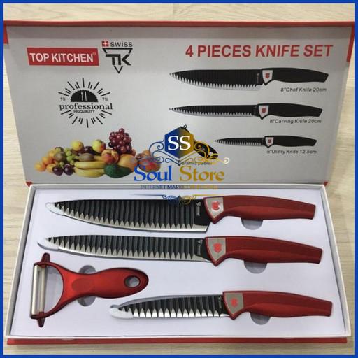 4 шт. Набор кухонных ножей Top Kitchen с ножницами из нержавеющей стали, для мяса и овощей, универсальный